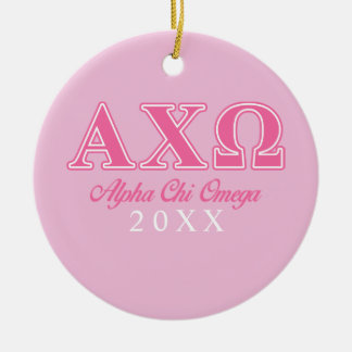 Alphi Chi Omega Pink Letters Double-Sided Ceramic Round Christmas Ornament