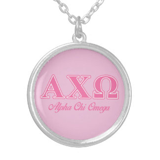 Alphi Chi Omega Pink Letters Silver Plated Necklace