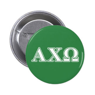 Alphi Chi Omega White and Green Letters Button