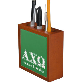 Alphi Chi Omega White and Green Letters Pencil Holder