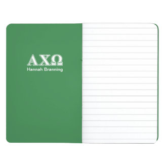 Alphi Chi Omega White and Green Letters Journals