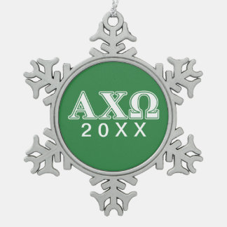 Alphi Chi Omega White and Green Letters Snowflake Pewter Christmas Ornament