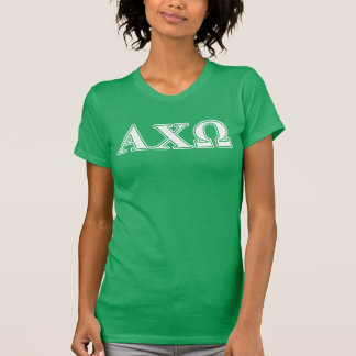 Alphi Chi Omega White and Green Letters Tee Shirt