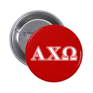 Alphi Chi Omega White and Red Letters Button
