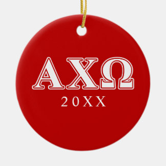 Alphi Chi Omega White and Red Letters Ceramic Ornament