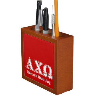 Alphi Chi Omega White and Red Letters Pencil Holder