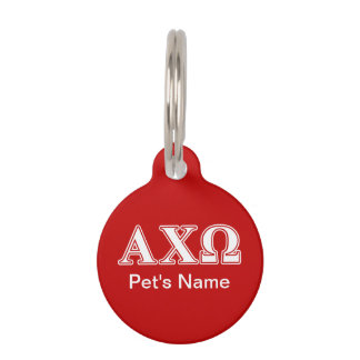 Alphi Chi Omega White and Red Letters Pet Name Tags