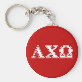 Alphi Chi Omega White and Red Letters Keychain