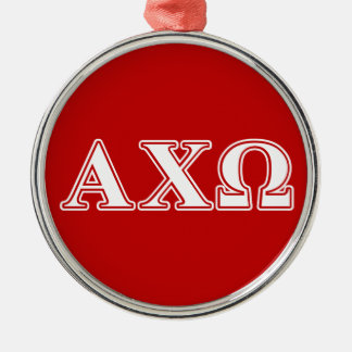 Alphi Chi Omega White and Red Letters Metal Ornament