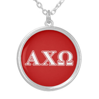 Alphi Chi Omega White and Red Letters Silver Plated Necklace