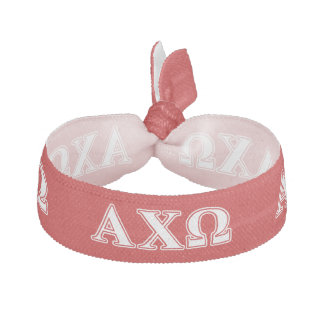Alphi Chi Omega White and Red Letters Elastic Hair Ties
