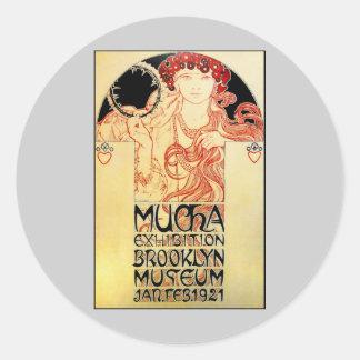 Alphones ( Alfons ) Mucha 1921 Exhibit Classic Round Sticker