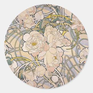 Alphones Alfons Mucha Flowers Round Stickers