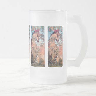 Alphones Mucha Carriage Dealers Expo 1902 Frosted Glass Beer Mug