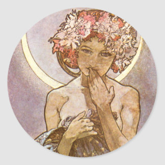 Alphones Mucha ~ The Moon 1902 Classic Round Sticker