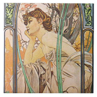 Alphons Mucha Evening Reverie Tile Trivet Gift Box