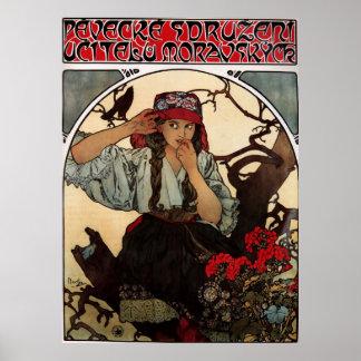 Alphons Mucha Girl In Tree Poster