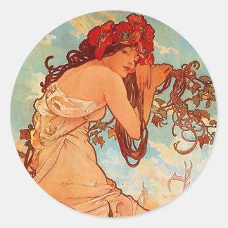 Alphons Mucha Summer Round Sticker