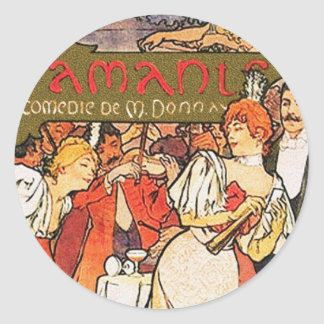 Alphonse (Alfons) Mucha:   Amants Classic Round Sticker