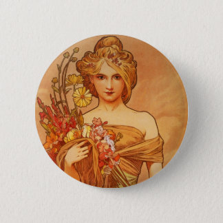 Alphonse (Alfons) Mucha  Bouquet Pinback Button