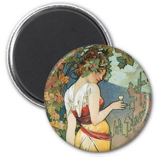 Alphonse (Alfons) Mucha: Cognac - Art Nouveau 2 Inch Round Magnet