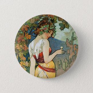 Alphonse (Alfons) Mucha: Cognac - Art Nouveau Button