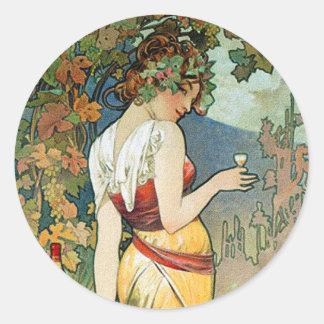 Alphonse (Alfons) Mucha: Cognac - Art Nouveau Classic Round Sticker