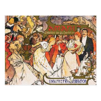 Alphonse (Alfons) Mucha Postcard:  Amants Postcard