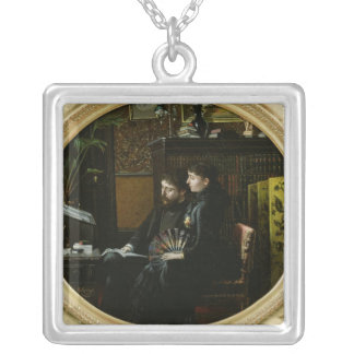 Alphonse Daudet  and his Wife in their Study Silver Plated Necklace