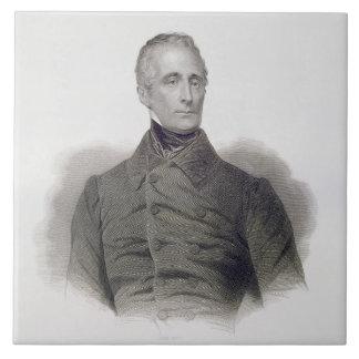 Alphonse de Lamartine, grabado por Pedro Pelee (1 Azulejo Cuadrado Grande