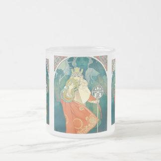 Alphonse Maria Mucha ~ Art Nouveau Frosted Glass Coffee Mug