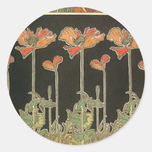 Alphonse Maria Mucha ~ Decoratifs Classic Round Sticker  Zazzle