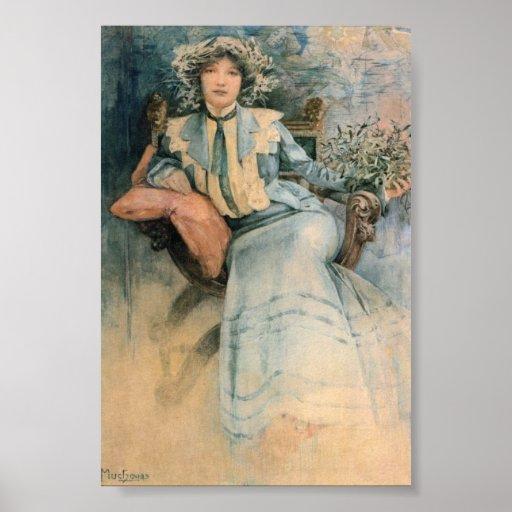 Alphonse Maria Mucha's Mistletoe Poster