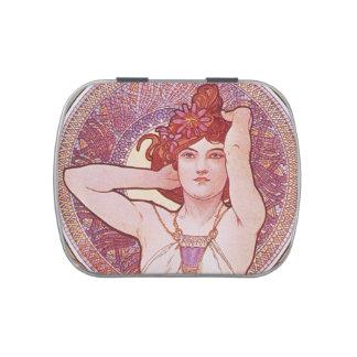 Alphonse Mucha Amethyst Art Nouveau Jelly Belly Candy Tins