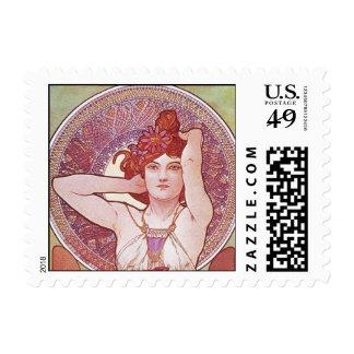 Alphonse Mucha Amethyst Art Nouveau Lady Vintage Postage Stamp