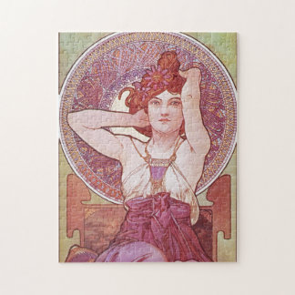 Alphonse Mucha Amethyst Art Nouveau Lady Vintage Jigsaw Puzzle