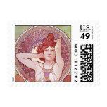 Alphonse Mucha Amethyst Art Nouveau Lady Vintage Stamp
