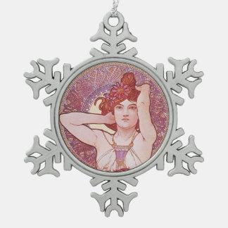 Alphonse Mucha Amethyst Art Nouveau Snowflake Pewter Christmas Ornament