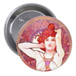 Alphonse Mucha Amethyst Floral Vintage Art Nouveau 3 Inch Round Button
