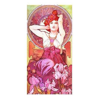 Alphonse Mucha Amethyst Floral Vintage Art Nouveau Card
