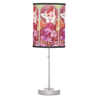 Alphonse Mucha Amethyst Floral Vintage Art Nouveau Desk Lamp