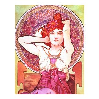 Alphonse Mucha Amethyst Floral Vintage Art Nouveau Flyer