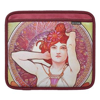 Alphonse Mucha Amethyst Floral Vintage Art Nouveau iPad Sleeves