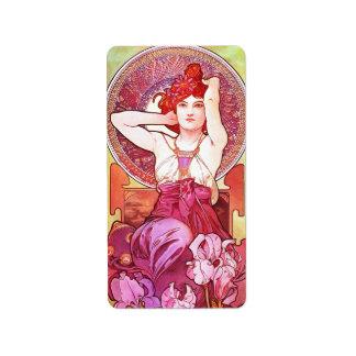Alphonse Mucha Amethyst Floral Vintage Art Nouveau Address Label