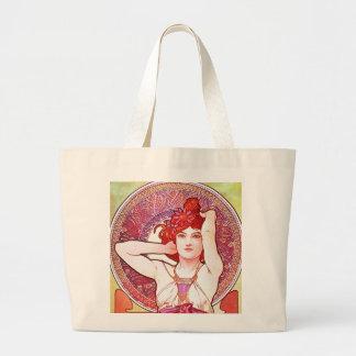 Alphonse Mucha Amethyst Floral Vintage Art Nouveau Large Tote Bag