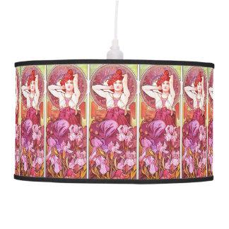 Alphonse Mucha Amethyst Floral Vintage Art Nouveau Pendant Lamp
