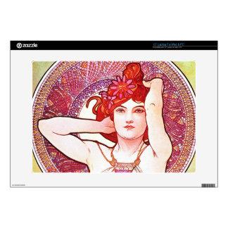 "Alphonse Mucha Amethyst Floral Vintage Art Nouveau Skins For 15"" Laptops"