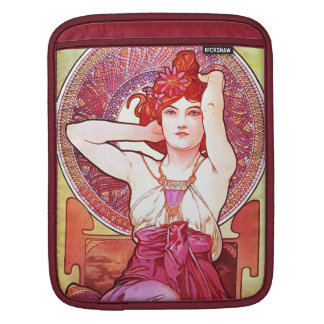 Alphonse Mucha Amethyst Floral Vintage Art Nouveau Sleeve For iPads