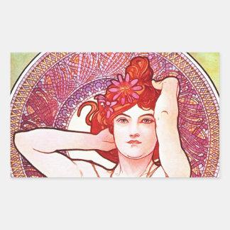 Alphonse Mucha Amethyst Floral Vintage Art Nouveau Rectangular Sticker