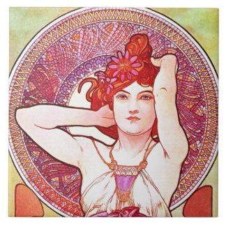 Alphonse Mucha Amethyst Floral Vintage Art Nouveau Tile